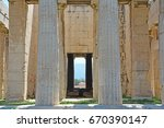 Small photo of Monumental columns and pronaos of the impressive ancient GreekTemple of Hephaestus, at the agora