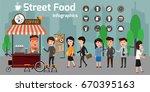 vector of street food coffee... | Shutterstock .eps vector #670395163