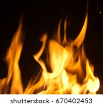 fire flames with sparks on... | Shutterstock . vector #670402453