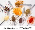 top view mix indian spices and... | Shutterstock . vector #670404607