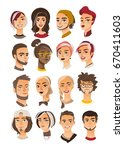 young faces people avatars   Shutterstock .eps vector #670411603