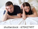 worried and bored lovers couple ... | Shutterstock . vector #670427497