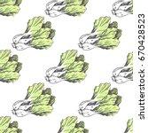 green lettuce on white endless... | Shutterstock .eps vector #670428523