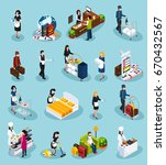 colored hotel service isometric ... | Shutterstock .eps vector #670432567
