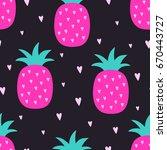 vector seamless pineapple fruit ... | Shutterstock .eps vector #670443727