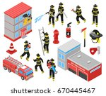 fire department isometric icons ... | Shutterstock .eps vector #670445467