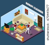 robot professions 3d design...   Shutterstock .eps vector #670445677