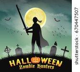 halloween knight with sword in... | Shutterstock .eps vector #670447507