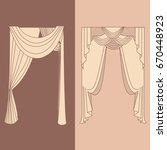 curtains and draperies...   Shutterstock .eps vector #670448923