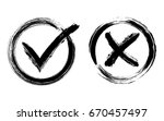 symbolic ok and x icons in... | Shutterstock .eps vector #670457497