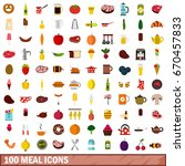 100 meal icons set in flat... | Shutterstock .eps vector #670457833