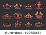 golden crown set. vector red... | Shutterstock .eps vector #670460557