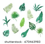 set of hand drawn watercolor... | Shutterstock . vector #670463983