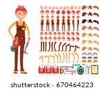 female technician cartoon... | Shutterstock .eps vector #670464223