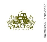 tractor logo  icon. emblem on... | Shutterstock .eps vector #670464427