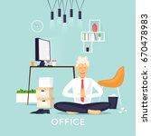 yoga in the office. flat design ...   Shutterstock .eps vector #670478983