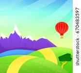 summer landscape with mountains ... | Shutterstock .eps vector #670483597