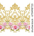 flower garland of pink roses.... | Shutterstock . vector #670498723