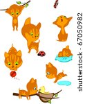 Stock vector the complete set of cheerful red kittens 67050982
