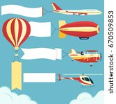 air vehicle with banner set.... | Shutterstock .eps vector #670509853