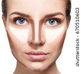 contour and highlight makeup. | Shutterstock . vector #670510603