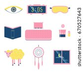sleep icon set. stock vector...   Shutterstock .eps vector #670527643