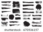 big set of vector black pen ink ... | Shutterstock .eps vector #670536157
