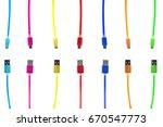 seven multi colored usb cables  ... | Shutterstock . vector #670547773
