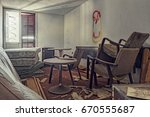 desolate hotel room of an hotel ... | Shutterstock . vector #670555687