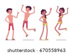 young man and woman in summer... | Shutterstock .eps vector #670558963