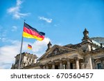 german flags waving in the wind ... | Shutterstock . vector #670560457