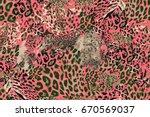 Red Leopard Pattern. Grunge...
