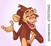 cartoon monkey smiling and... | Shutterstock .eps vector #670570363