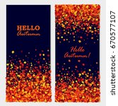 hello autumn banners with maple ... | Shutterstock .eps vector #670577107