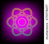 atom sign. vector. yellow green ... | Shutterstock .eps vector #670578697
