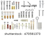 collection of fasteners  metal... | Shutterstock .eps vector #670581373