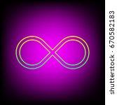 infinity symbol. vector. yellow ... | Shutterstock .eps vector #670582183