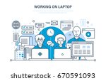 working on laptop concept.... | Shutterstock .eps vector #670591093