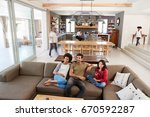 people sitting on sofa and... | Shutterstock . vector #670592287
