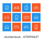city transport linear icons | Shutterstock .eps vector #670593637
