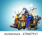 travel backpacks with climbing... | Shutterstock . vector #670607917