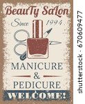 beauty salon vintage colored... | Shutterstock . vector #670609477