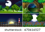 four scenes at night time... | Shutterstock .eps vector #670616527