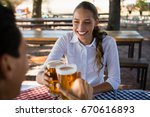 happy woman with friend... | Shutterstock . vector #670616893