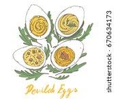 deviled eggs simple gourmet... | Shutterstock .eps vector #670634173