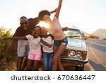 portrait of family standing... | Shutterstock . vector #670636447