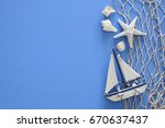 top view of nautical concept... | Shutterstock . vector #670637437