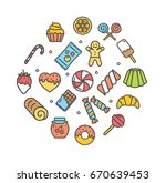 sweets and bakery round design... | Shutterstock . vector #670639453