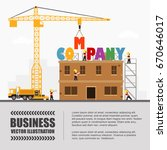 crane and company building.... | Shutterstock .eps vector #670646017
