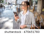 young and stylish businesswoman ... | Shutterstock . vector #670651783